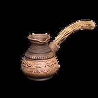 Турка глиняная с деревянной ручкой «Шляхтянская»AG0923Покутская керамика