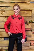 Креп-шифоновая коралловая блуза Реванш Arizzo 44-52  размеры