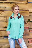 Креп-шифоновая блуза Реванш минт Arizzo 44-52  размеры