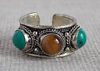 """Кольцо """"3 камня"""" с тигровым глазом и бирюзой. Кольца с камнями"""