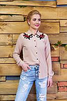 Креп-шифоновая бежевая блуза Реванш Arizzo 44-52  размеры