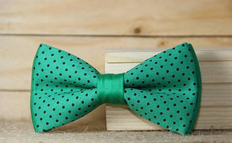 Галстук-бабочка I&M Craft зелёный в горошек (10503G) , фото 2