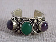 """Кольцо """"3 камня"""" с аметистом и зеленым ониксом. Кольца с камнями"""