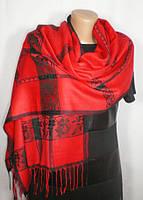 Стильный яркий палантин-шарф красного оттенка