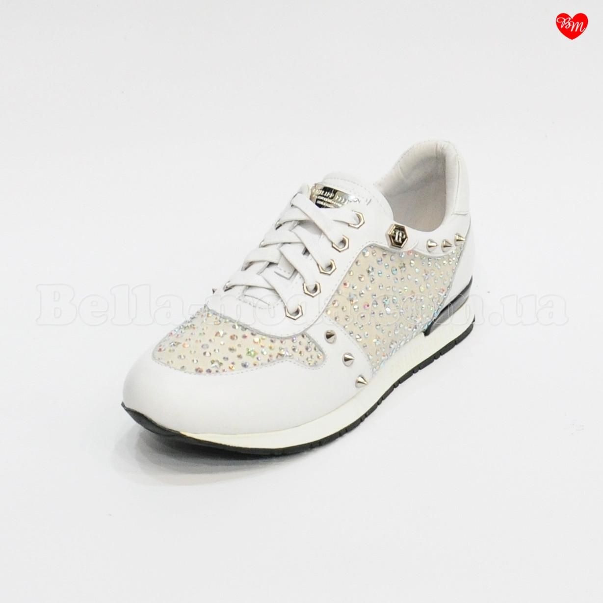 8ba0a7c66a8c Купить Женские белые кроссовки в камнях Philipp Plein в розницу от  интернет-магазина ...