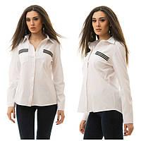 Классическая рубашка с нагрудными карманами декорироваными камушками