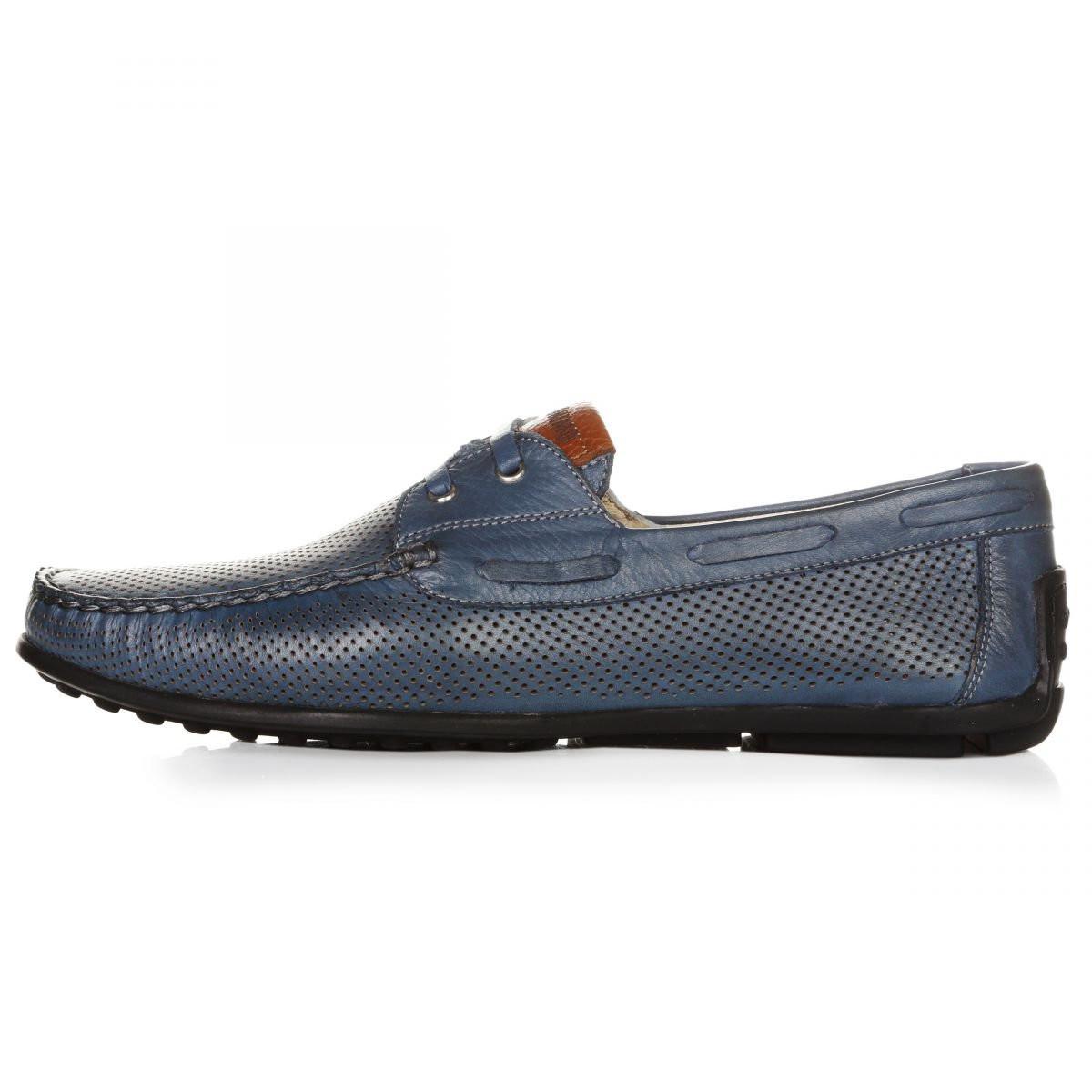Мокасины мужские Geronimo синие на шнуровке кожа