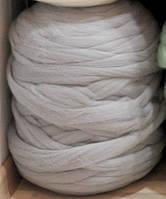 100% шерсть мериноса Светло-серый 24-25 мкрн