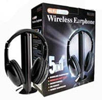 Беспроводные наушники 5 в 1 + FM радио Wireless , купить Беспроводные наушники 5 в 1 + FM радио Wireless