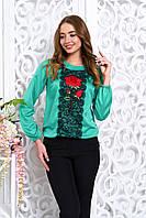 Стильная бирюзовая женская блуза Флор Arizzo 44-50  размеры