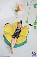 Бескаркасное кресло мешок Цветок желто-зеленый из ткани Оксфорд