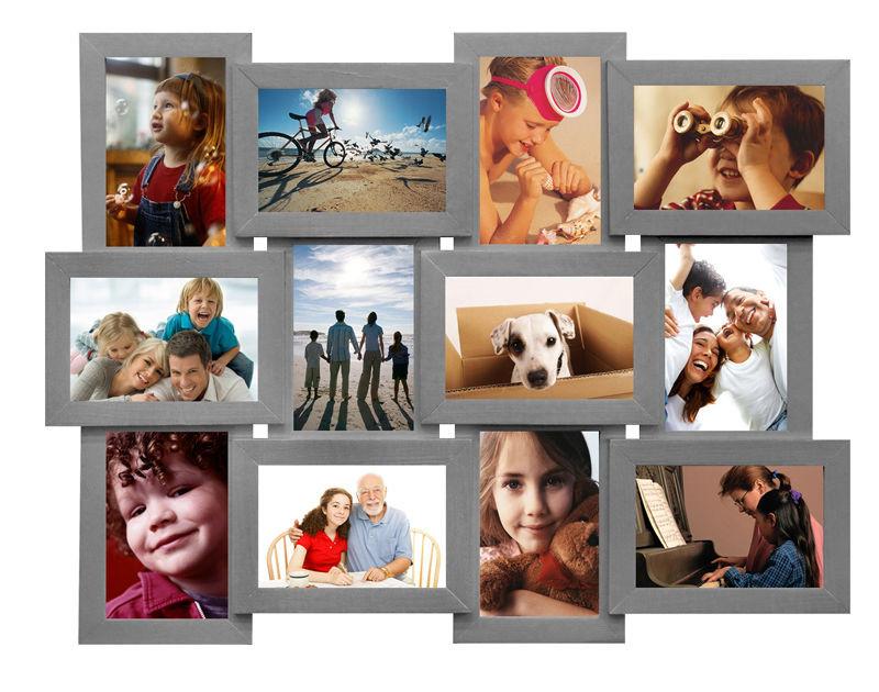 Деревянная мультирамка 12 фото Серебро
