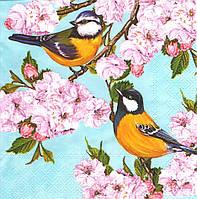 Декупажные салфетки Синички на цветущей ветке 6727