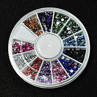 Стразы для дизайна ногтей в карусели, 2 мм,12 цветов