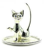Подставка Котик  под кольца Серебро