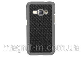 Чехол-накладка Utty PC+Carbon fibre PU для Samsung Galaxy J1 (2016) SM-J120 Black (207308)