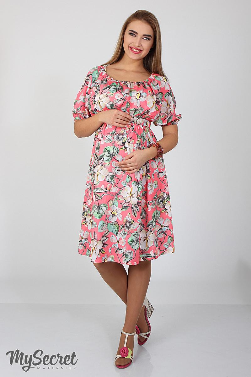 Платье для беременных и кормления Roxolana DR-27.101, цветы на коралловом фоне