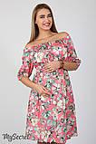 Платье для беременных и кормления Roxolana DR-27.101, цветы на коралловом фоне, фото 2
