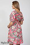 Платье для беременных и кормления Roxolana DR-27.101, цветы на коралловом фоне, фото 5
