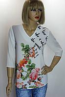 блуза белая с цветочным принтом Caro Ledi