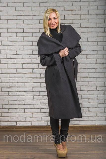a0c5446d11f Женское кашемировое пальто цвет темно серый р-44-54 - Модамира - Женская  одежда
