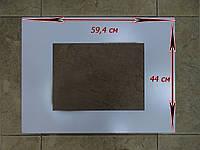 Стекло импортной плиты размером 59,4х44 см белое панорамное
