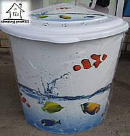 Корзина/Бак для белья Elif Plastik угловой Рыбы
