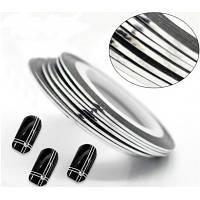 Лента-скотч для декора ногтей, серебро узкая