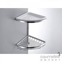 Аксессуары для ванной комнаты Colombo Design Полочка-решётка угловая двойная с крючком и мыльницей Colombo Complementi B9601