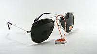 Cолнцезащитные очки Ray Ban Aviator поляризованные черные серебряная оправа