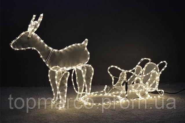 Новогодняя рождественская Оленья повозка, 400 LED