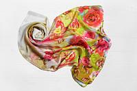 Шифоновый шарф Вильена Розы, белый/салатовый