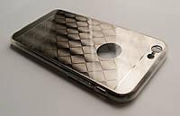 Чехол на Айфон 6/6s Пластик и Силикон имитация металла с гравировкой Серебро, фото 1