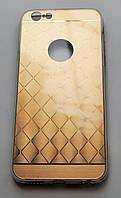 Чехол на Айфон 6/6s Пластик и Силикон имитация металла с гравировкой Золото, фото 1