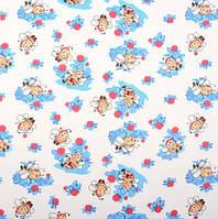 Ситец детский Пчёлы голубой
