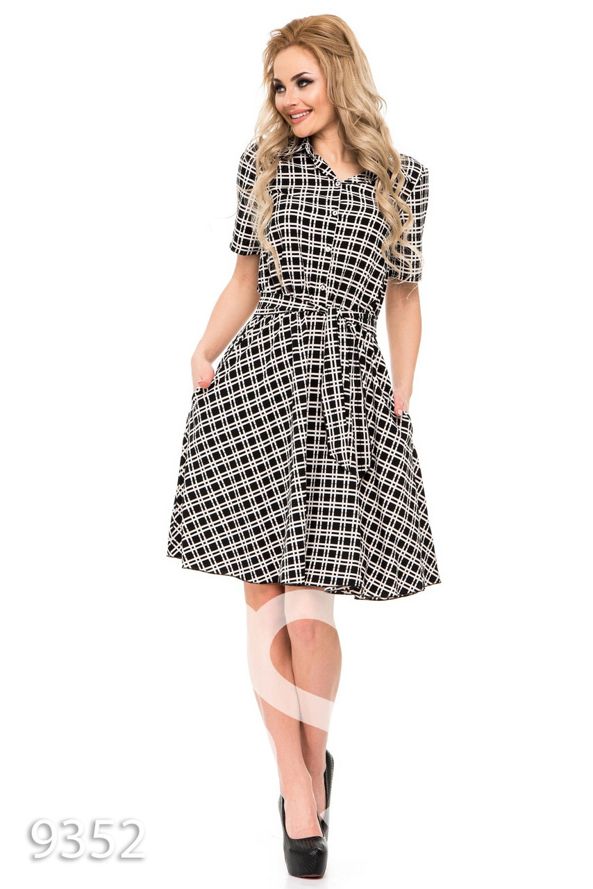 c9f2cc49b4d Черное-белое в клетку платье-рубашка под пояс - Стильная женская одежда  оптом и