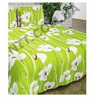 Красивое постельное белье в цветы на зеленом фоне бязь полуторное