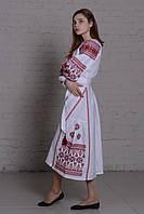"""Длинное платье вышиванка """"писанка"""" белое, вышивка черно-красная"""