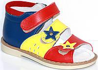 Ортопедические детские сандалии для девочки  летние кожаные с жестким задником и каблуком Томаса с супинатором