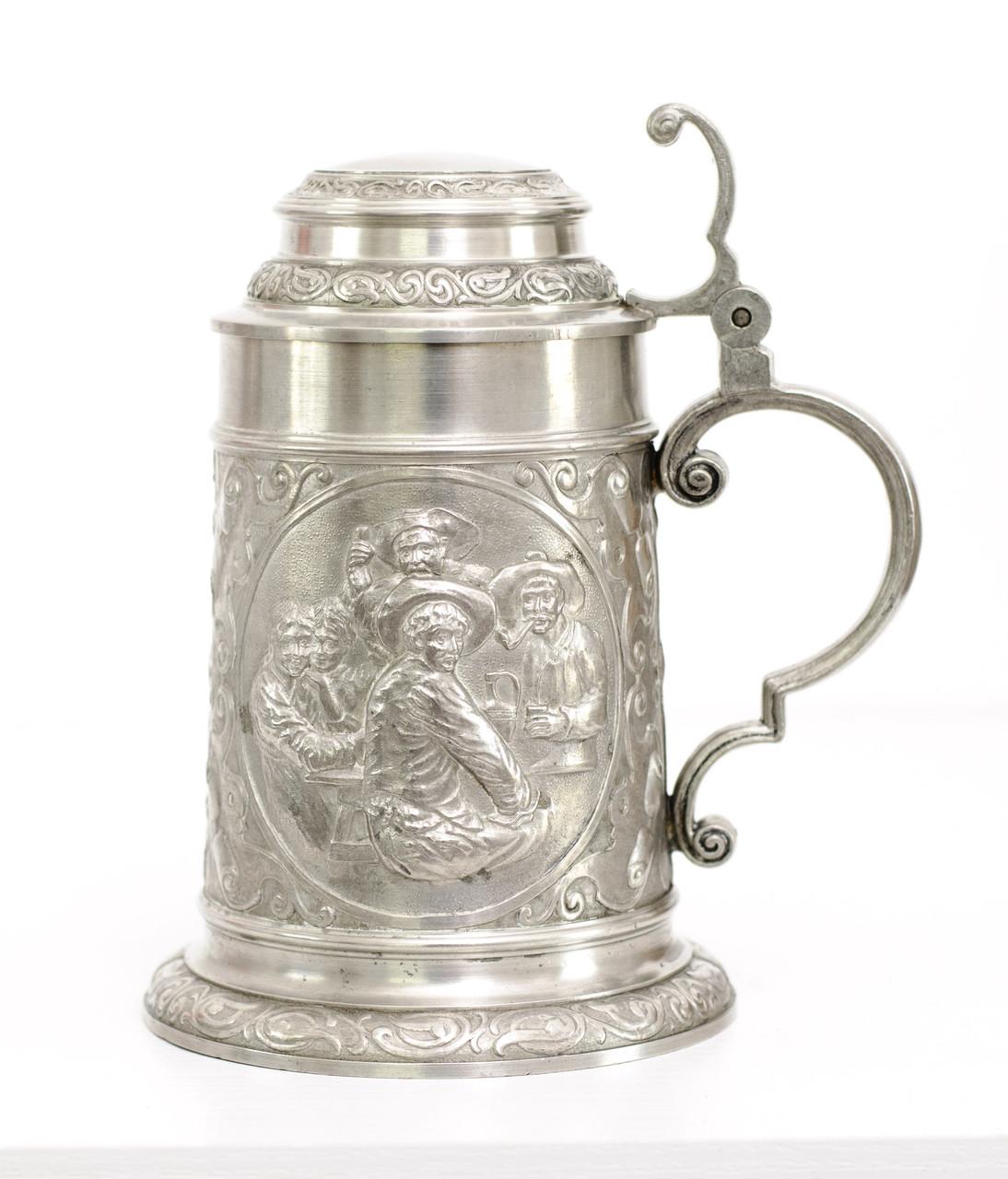 Пивной оловянный бокал, пищевое олово, Германия, Трактирный сюжет, 800 мл