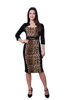 Женское платье Анна праздничное,  леопардовое,   нарядное размеры 42, 44, 46, 48, 50, 52, 54, 56 черное