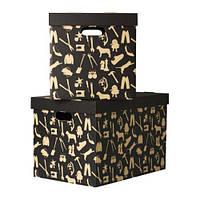 """ИКЕА """"HÅBOL"""" Коробка с крышкой, черный, 56x37x36 см"""