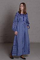 """Длинное платье вышиванка """"писанка"""" синее, вышивка сине-белая"""