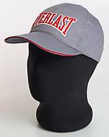 """Бейсболка серая с красным кантом """"Everlast"""" (пятиклинка плащевка точка)"""