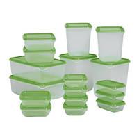 ПРУТА Набор контейнеров, 17 шт., прозрачный, зеленый