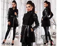 Теплое стильное пальто - черный