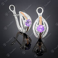 Серебряные серьги с аметистом и фианитами. Артикул С-377