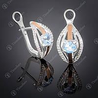 Серебряные серьги с топазом и фианитами. Артикул С-377