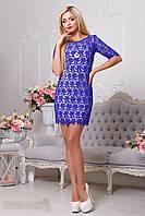Короткое синее гипюровое платье