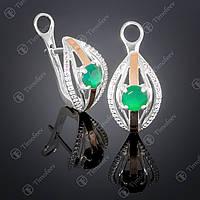 Серебряные серьги с агатом и фианитами. Артикул С-377